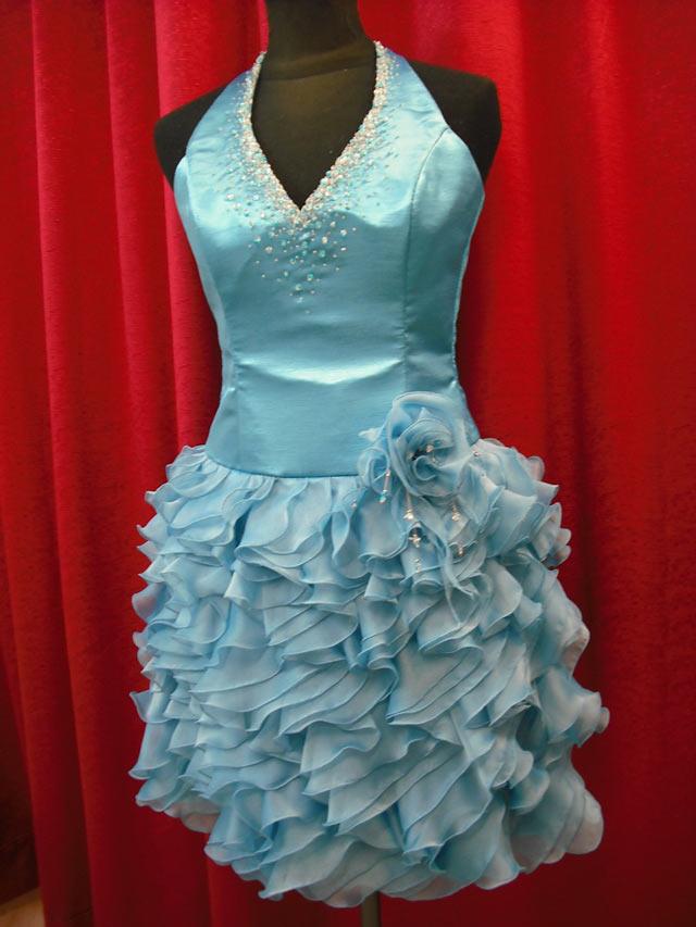 Vestido De Fiesta Corto-Color Celeste