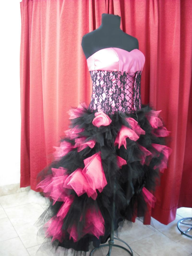 Vestido De 15 Fucsia Y Negro