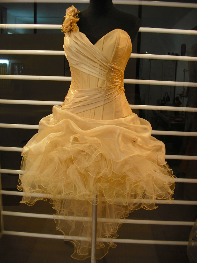 Vestido Dorado Con Falda Abullonada De Organza Y Tules