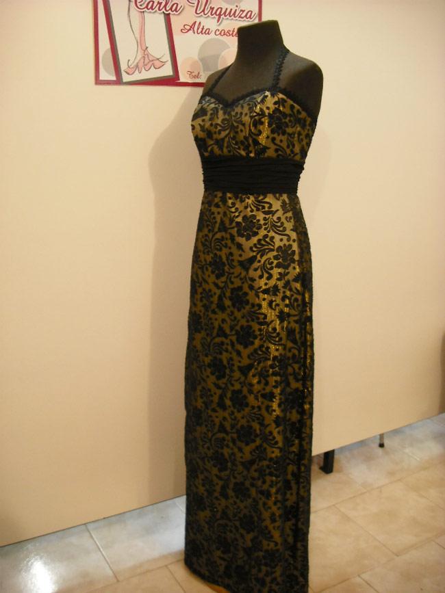 Vestido De Fiesta Dorado Y Negro.