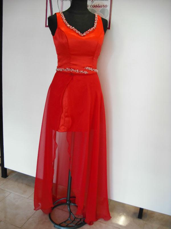 Vestido Rojo Corto Con Falda Desmontable
