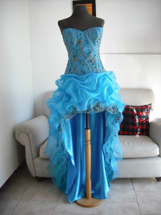 Vestido Turquesa Bordado