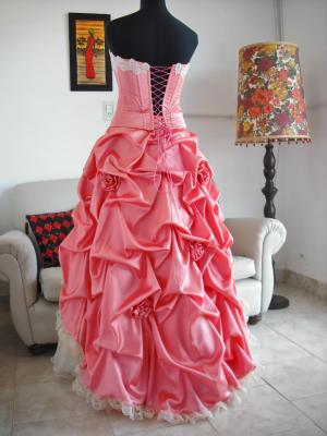 vestido quince-espalda acordonada