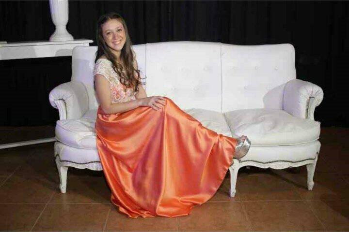 Top Y Falda Color Naranja